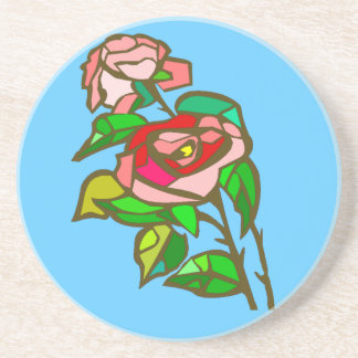Rose stained glass colorful coaster