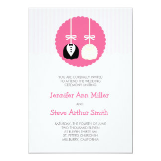 Rose Stripes Cake Pop Wedding Invitations