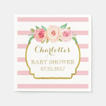 Toddler & Baby themed Rose Stripes Gold Pink Floral Baby Shower Napkin