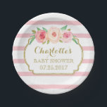 "Rose Stripes Gold Pink Floral Baby Shower Plate<br><div class=""desc"">Customizable name baby shower party plates with light rose blush pink and white stripes patter,  gold details and pretty pink watercolor vintage flowers.</div>"