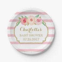 Rose Stripes Gold Pink Floral Baby Shower Plate