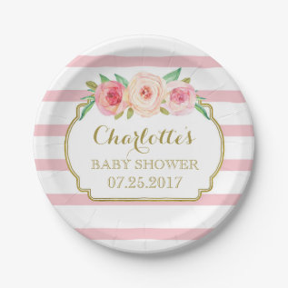 Rose Stripes Gold Pink Floral Baby Shower Plate at Zazzle