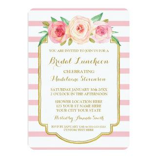 Rose Stripes Gold Pink Floral Bridal Lunch Card