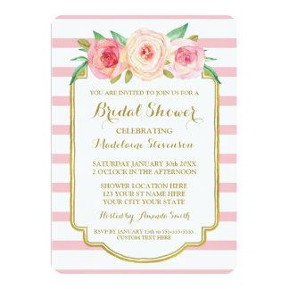 Rose Stripes Gold Pink Floral Bridal Shower Card