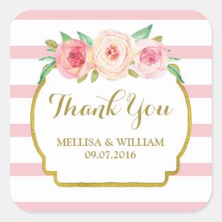 Rose Stripes Gold Pink Floral Wedding Favor Tags