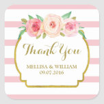 Rose Stripes Gold Pink Floral Wedding Favor Tags Square Sticker