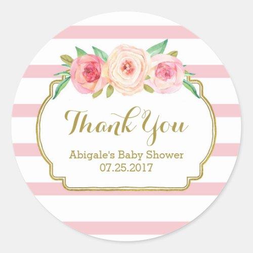 Rose Stripes Pink Floral Baby Shower Favor Tags
