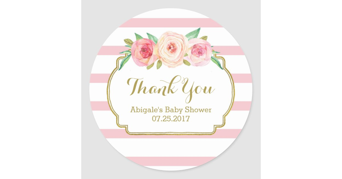 Rose Stripes Pink Floral Baby Shower Favor Tags | Zazzle.com