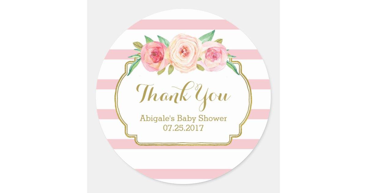 Rose Stripes Pink Floral Baby Shower Favor Tags Zazzle