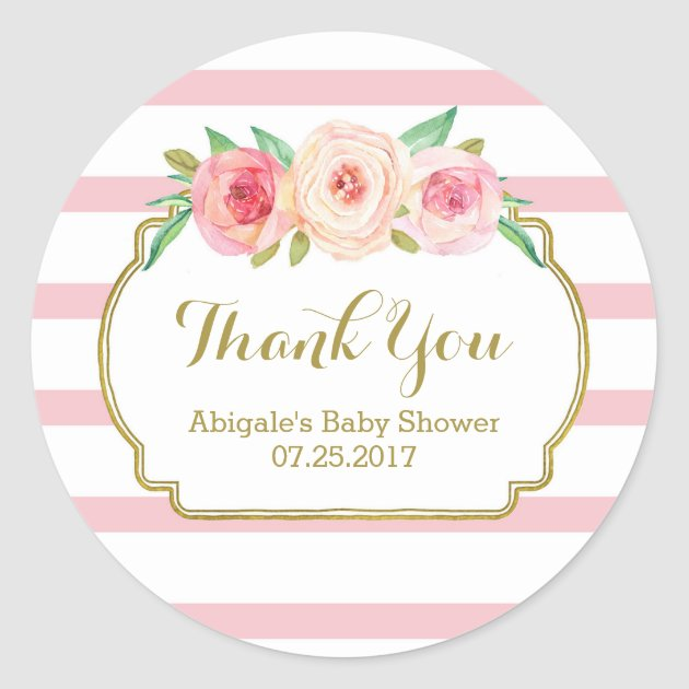Marvelous Baby Shower Favor Cards Part - 13: Rose Stripes Pink Floral Baby Shower Favor Tags | Zazzle.com