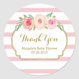 Rose Stripes Pink Floral Baby Shower Favor Tags Classic Round Sticker