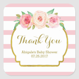 Rose Stripes Pink Floral Baby Shower Favor Tags Square Sticker