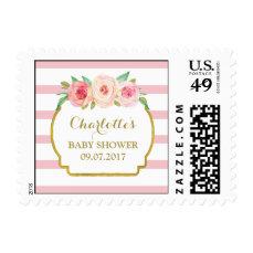 Rose Stripes Pink Floral Baby Shower Stamps