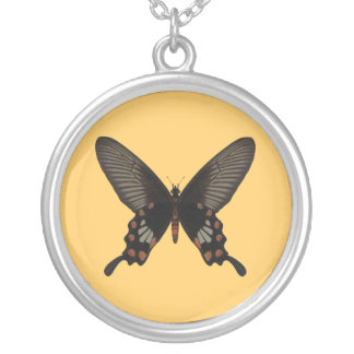 Rose Swallow Tail Butterfly Round Pendant Necklace
