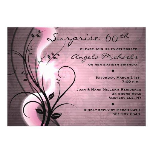 Rose Swirls Birthday Party Invitation