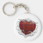 Rose Tartan Heart Key Chains