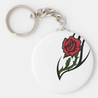 Rose tattoo basic round button keychain