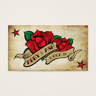 Rose Tattoo Custom Personalized RSVP Business Card