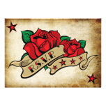 Rose Tattoo Custom RSVP Templates. Personalized Invitations