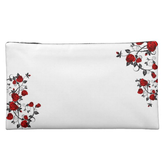 Rose tattoo inspired cosmetic bag