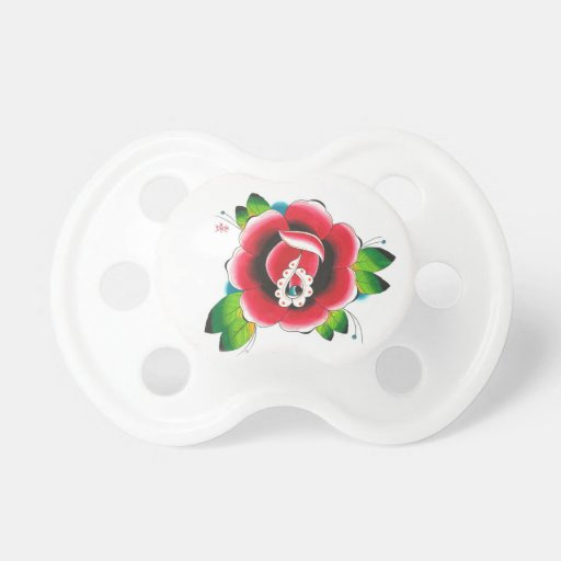 rose tattoo pacifier zazzle. Black Bedroom Furniture Sets. Home Design Ideas