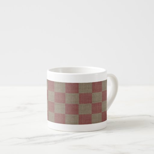 Rose & Taupe Linen Checkered Espresso Cup