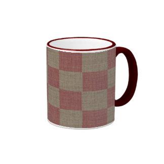 Rose & Taupe Linen Checkered Mug