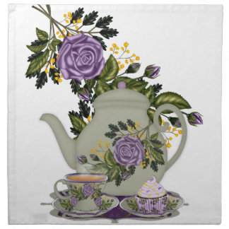 rose, tea, teapot, cupcake, teacup napkin in purpl