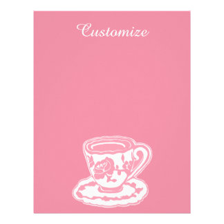 """Rose Teacup Pink 8.5"""" x 11"""" Letterhead"""