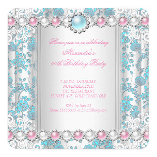 Rose Teal Damask White Pink Pearl Birthday Party Card