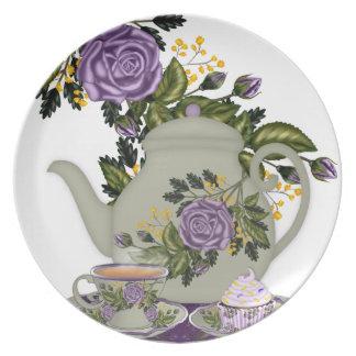 rose, teapot, cupcake designed plate