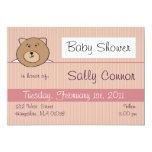 Rose teddy bear - Baby girl shower invitations