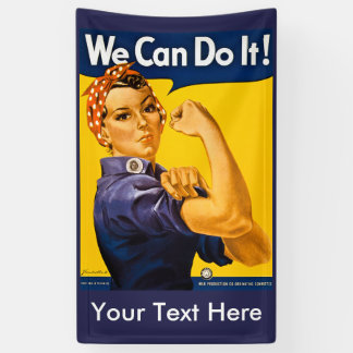 Rose the Riveter We Can Do It YOUR TEXT HERE Banner