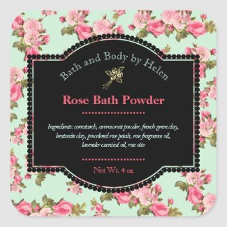 Rose Themed Bath Products Label