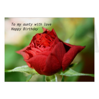 Rose To my aunty with love Happy Birthday Card