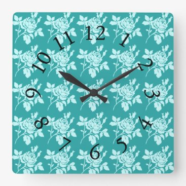 Beach Themed Rose-Toile_Jade(c)Multi-Choices Square Wall Clock