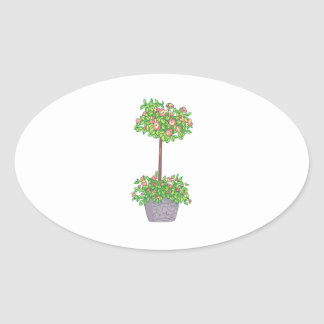 ROSE TOPIARY OVAL STICKER