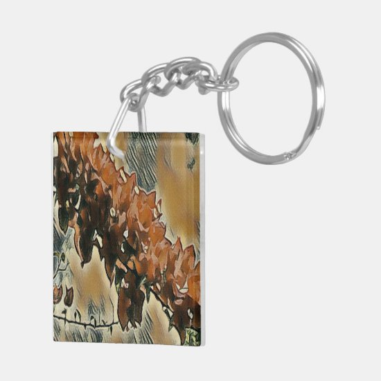 Rose Tree Art Keychain