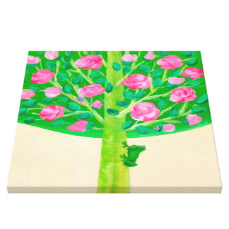 Rose Tree   Little Frog   Cheerful Pink & Green Canvas Print