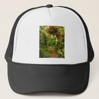 Rose Trellis Over Garden Path Trucker Hat