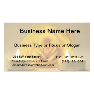 rose two candles bright yellow flower business card