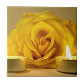 rose two candles bright yellow flower ceramic tile