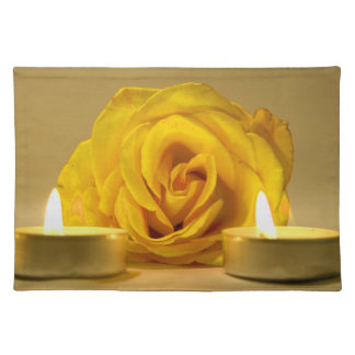 rose two candles bright yellow flower cloth placemat