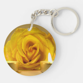 rose two candles bright yellow flower Double-Sided round acrylic keychain