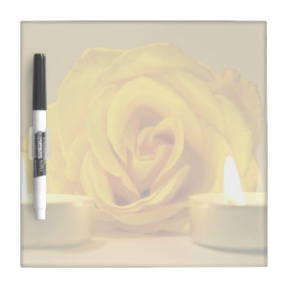 rose two candles bright yellow flower dry erase board