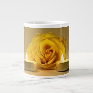 rose two candles bright yellow flower giant coffee mug