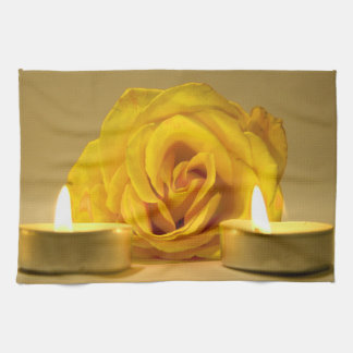 rose two candles bright yellow flower kitchen towels