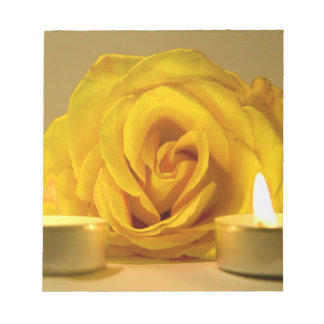rose two candles bright yellow flower memo note pads