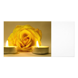 rose two candles bright yellow flower custom photo card