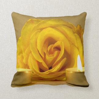 rose two candles bright yellow flower pillow